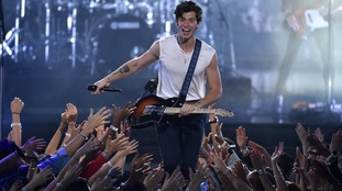 Shawn Mendes performs 'In My Blood' onstage at the MTV Video Music Awards at Radio City Music Hall on Monday.