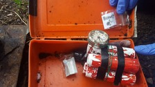The fake bomb had cylinders filled with pictures of bombs and a note which read 'boom'