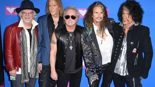 (left to right) Brad Whitford, Tom Hamilton, Joey Kramer, Joe Perry, and Steven Tyler of Aerosmith attending the 2018 MTV Video Music Awards.