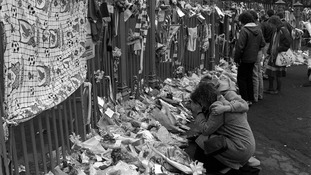 Tributes left two days after the Hillsborough disaster in April 1989