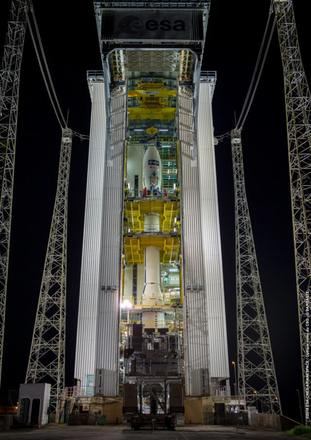 Aeolus ready in the launch tower ahead of lift-off (ESA/CNES/Arianespace/PA)