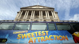 A bus is seen outside the Bank of England in central London
