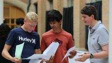 Students collect their GCSE results at the Nottingham High School.