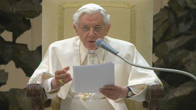 Pope Benedict XVI addresses the faithful at his weekly general audience.