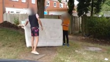 A brave dad confronted two men who were about to dump a mattress on a road in Walsall.