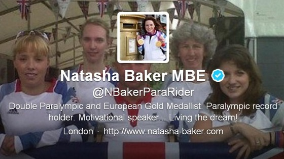 Paralympic rider Natasha Baker MBE&#x27;s new Twitter profile