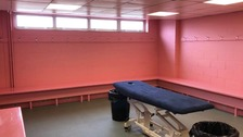 The newly painted pink dressing room at Carrow Road.