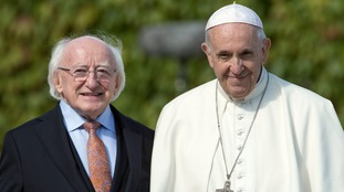 One of the Pope's first engagements on Saturday was a meeting with Irish President Michael D Higgins.