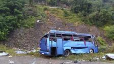The scene of the bus crash near Sofia, Bulgaria