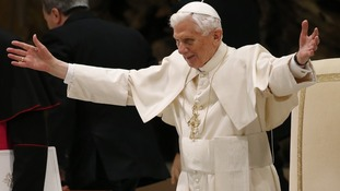 Pope Benedict XVI was greeted loudly as he made his first public appearance since announcing his decision to resign.