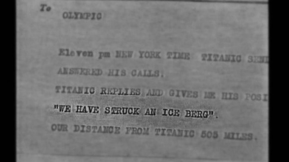 The telegram sent to Olympic on the night the Titanic sank