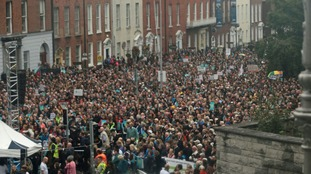 Thousands gathered in Dublin to protest against the Pope's visit.