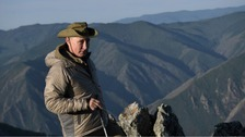 Vladimir Putin posed on his break in the Siberian Tyva region.