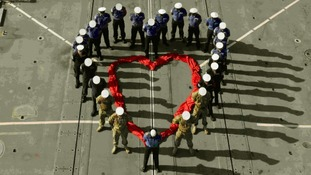 Royal Navy sends message of love home on Valentine's Day