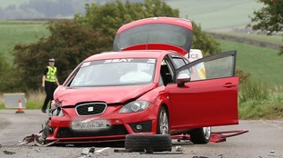 Car that was in collision with a lorry on the A711