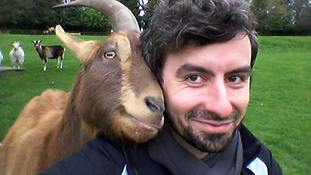 Dr Christian Nawroth and a goat