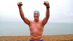 Swimmer Lewis Pugh completes his mammoth channel swim from Land's End to Dover