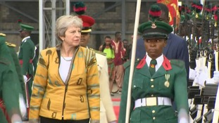 People-trafficking and slavery on agenda as Theresa May arrives in Nigeria