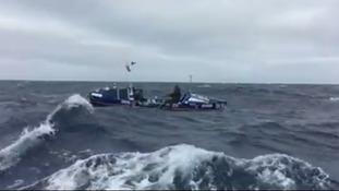 The pair battled rough seas on their journey.