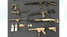 The airguns look like real firearms