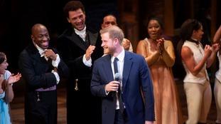 Prince Harry onstage at Hamilton.