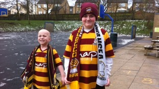 Bradford City mascots Jake Turton and Ryan Siddall