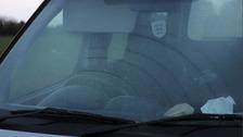 The windscreen of Sterna's car.