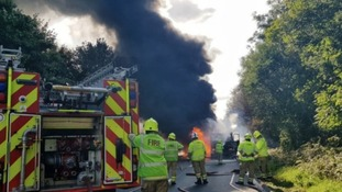 Lorry on fire