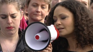 Actress Thandie Newton address the crowds
