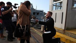 Navy seaman surprises girlfriend with proposal after eight months in the Gulf