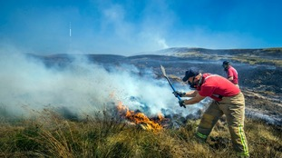 firefighters tackle fire on Winter Hill