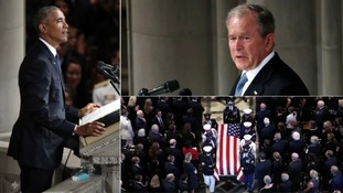 Former US presidents Obama and Bush lead John McCain tributes as veteran Republican laid to rest