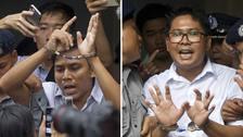 Kyaw Soe Oo, left, and Wa Lone have been sentenced to seven years in Myanmar.