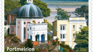 Portmeirion depicted on a stamp
