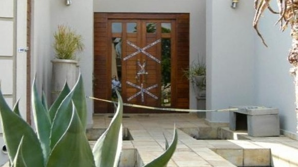 The front door of Oscar Pistorius&#x27; home in Pretoria, South Africa