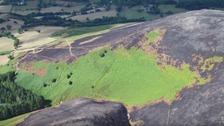 Burnt hillside Mynydd Llantysilio