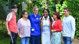 Transplant patients Luke Palfreyman, Yvonne Dunham, Nurse Sandie Von Joel, Michelle Hemmings, Jo Hext and Daniel Peel.