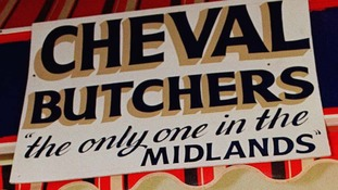 A butcher in 1996 advertising horsemeat in the Midlands.