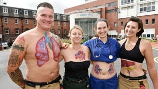 Emergency services body art installation to raise awareness of organ donation