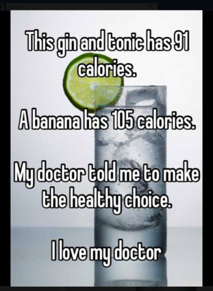 This ad compared the calorific content of a gin and tonic and a banana