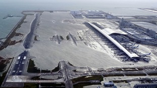 Kansai International Airport is partly underwater.