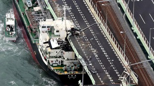 A tanker was blown into a bridge during the storm.
