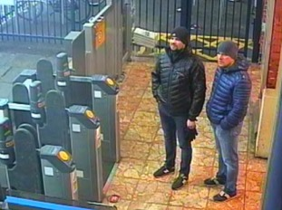 The Russian nationals were captured on CCTV outside Salisbury train station.
