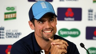 Alastair Cook addresses the media at The Oval.