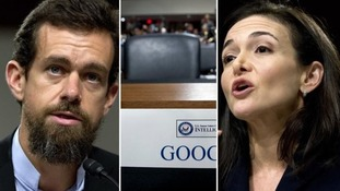 Tech giant leaves empty chair at Senate hearing as Facebook and Twitter defend efforts to halt US election meddling