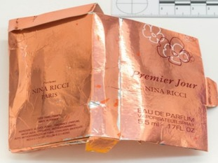 Police have confirmed the Nina Ricci perfume box is counterfeit.