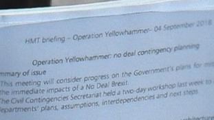 Operation Yellowhammer! Photo reveals government's secret Brexit code as chancellor warns of no-deal cuts