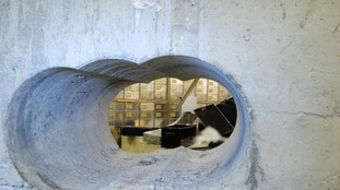 The tunnel leading into the vault at the Hatton Garden Safe Deposit company in London.