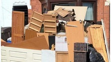 Rubbish piling up at the house in Leicester