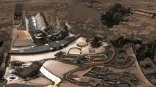 The Curiosity rover at Vera Rubin Ridge on Mars.